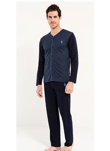 U.S. Polo Assn. Boydan Patlı Pijama Takım Mavi